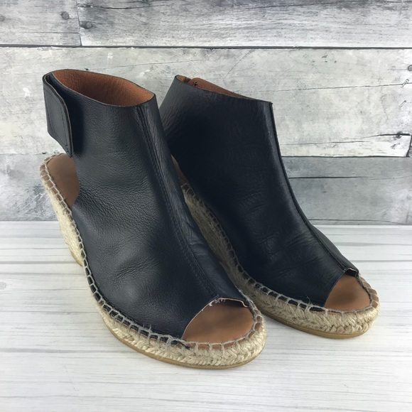 e163aeeaace 275 Central Black Leather Espadrille Wedge Size 37